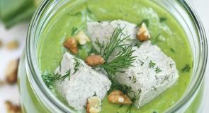 Студена крем супа от тиквички и сирене от кашу